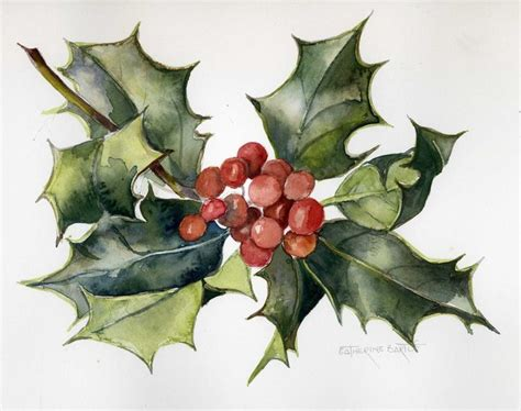 watercolor holly tutorial watercolor holly leaves google search art 1