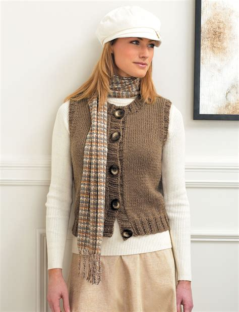 knitting pattern womens sweater vest patons button front crew neck vest knit pattern