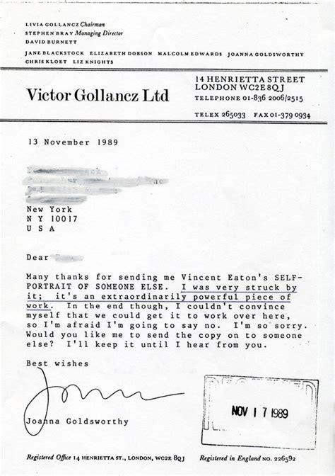Rejection Letter Publisher Publisher S Rejection Letters 171 Vincent Eaton Storyteller