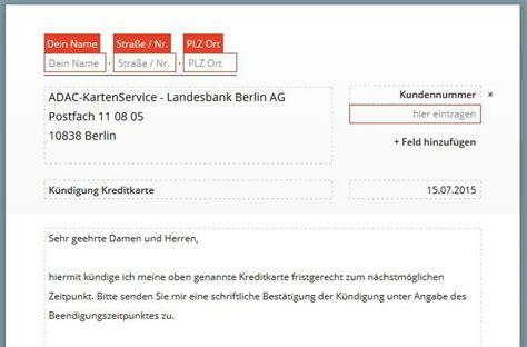 Kfz Versicherung Widerrufen Kosten by Adac Kreditkarte K 252 Ndigen Vorlage Download Chip