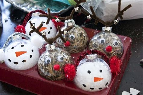 clear glass ornaments craft ideas rudolph and snow man