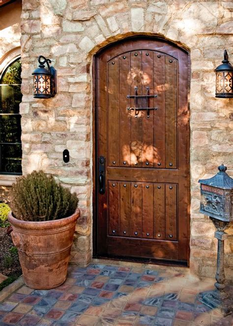 Mediterranean Front Door With Slate Tile Floors By Morey Front Door Tiles