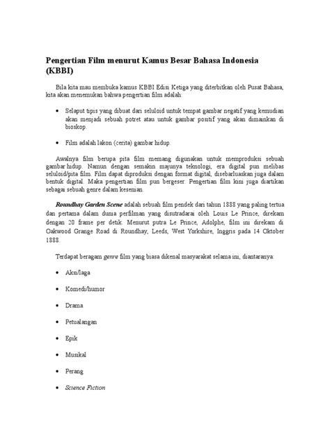 pengertian film menurut kamus besar bahasa indonesia