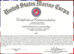 Usmc Certificate Of Commendation Template by Photo