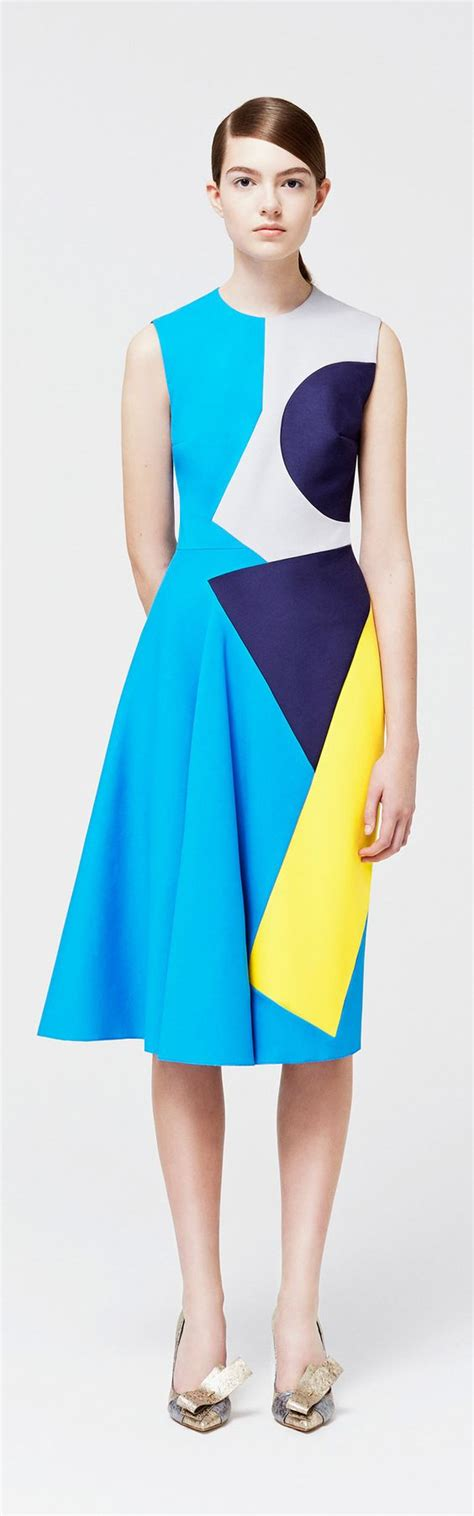 geometric pattern in fashion resort 2015 roksandra ilincic color blocking geometric