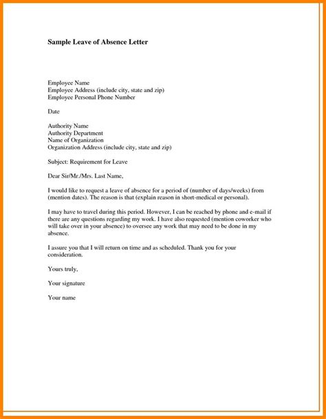 Leave Of Absence Letter Sle For Employer 10 Personal Leave Letter Resume Pictures
