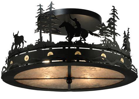 Cowboy Light Fixtures Meyda 136277 Cowboy Steer Semi Flush Mount Ceiling Fixture