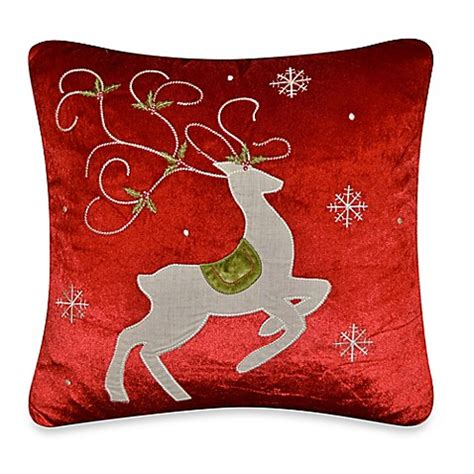 red throw pillows for bed prancing reindeer throw pillow in red bed bath beyond