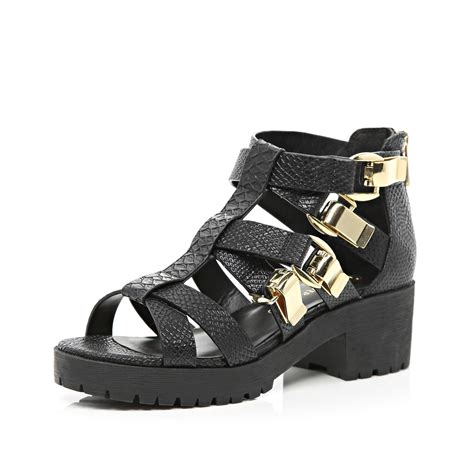 sole sandals river island black chunky cleated sole sandals in