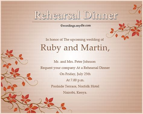 wedding dinner invitations wedding rehearsal dinner invitation wording sles wordings and messages