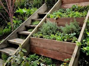 Gardening On A Hill Stairs Next To Tiered Garden To Build On A Hill Home