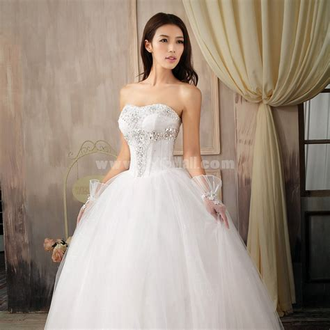 ball gown strapless sweetheart wedding dresses with beaded
