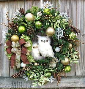 igw gallery winter owl christmas wreath lime green gold