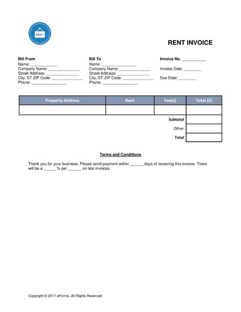 monthly rent invoice template free rental monthly rent invoice template word pdf