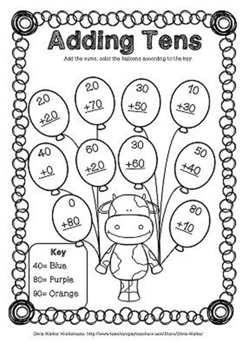 adding black to a color adding tens onto two digit numbers worksheets