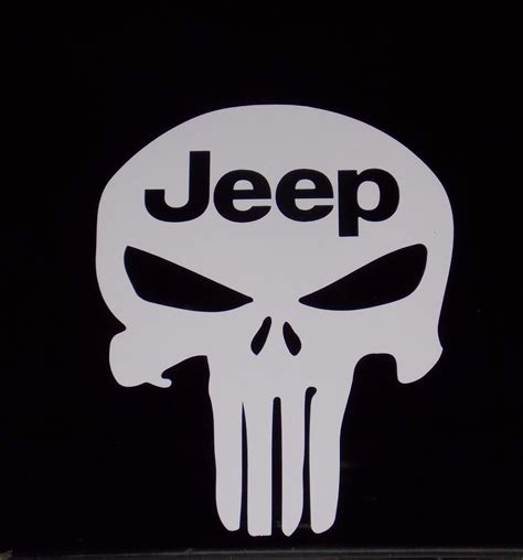 Jeep Skull Sticker Jeep Punisher American Sniper Skull Vinyl Decal Sticker