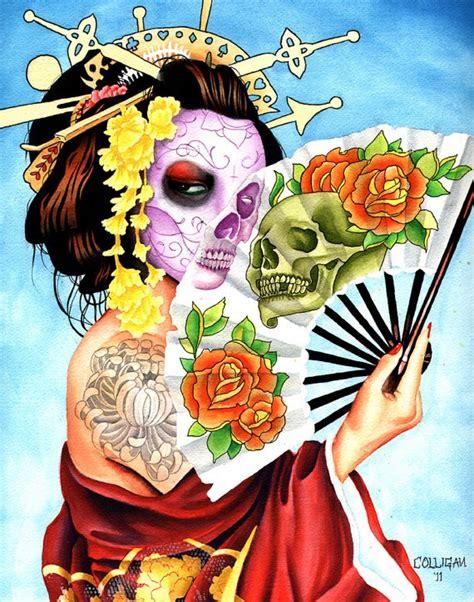 tattoo geisha skull fan tattoo dia de and new tattoos on pinterest