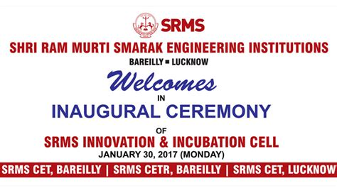 Mba Innovation Ram by Inaugural Ceremony Of Srms Innovation Incubation Cell