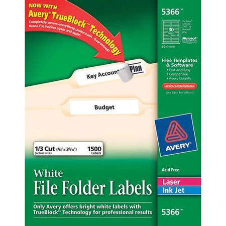 Avery 5366 White File Folder Labels With Trueblock Technology For Laser And Inkjet Printers 2 3 Avery Filing Label 5029 Template