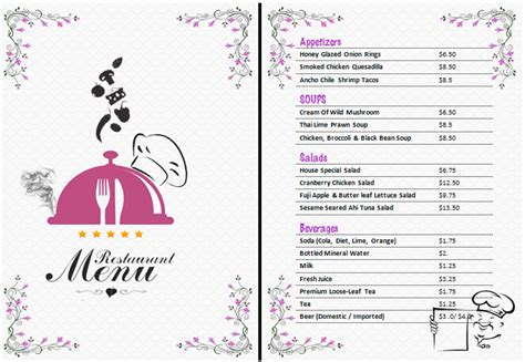 food menu templates for microsoft word ms word restaurant menu office templates