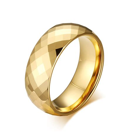 shiny gold mens womens polished tungsten carbide