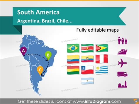 editable ppt maps south america argentina brazil chile