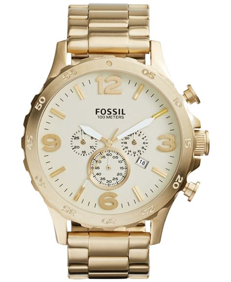 fossil s chronograph nate gold tone stainless steel