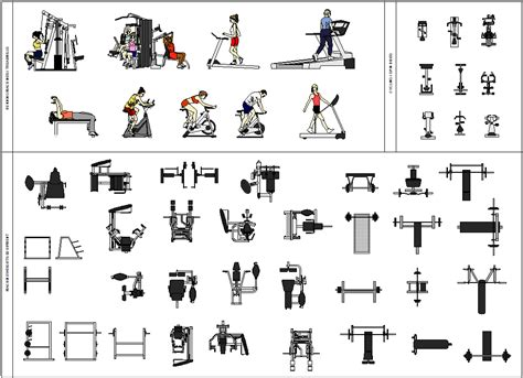 gymnastics apparatus layout cad blocks of gym equipment with colour hatching