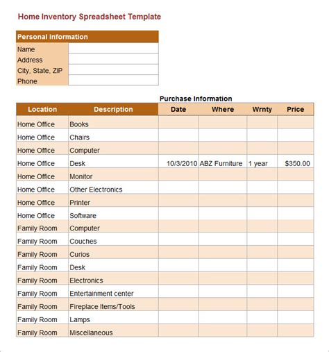 office inventory spreadsheet spreadsheet template