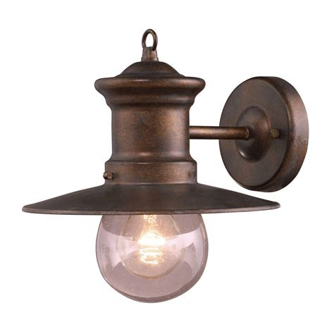 Bronze Exterior Light Fixtures Titan Lighting Maritime 1 Light Outdoor Hazelnut Bronze Wall Sconce Tn 5189 The Home Depot