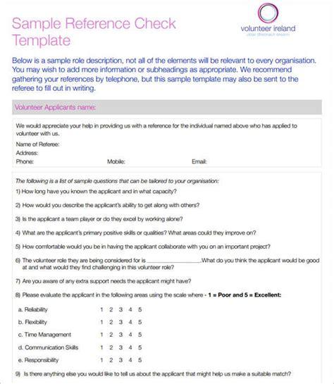 reference check template reference check template employee reference check sle