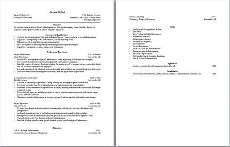 payroll administrator description payroll administration resume administrative resume