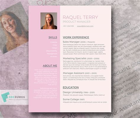 Free Word Resume Template for the Ladies   Pretty in Pink
