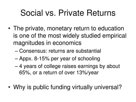 investment in learning the individual and social value of american higher education foundations of higher education books ppt the social value of education powerpoint
