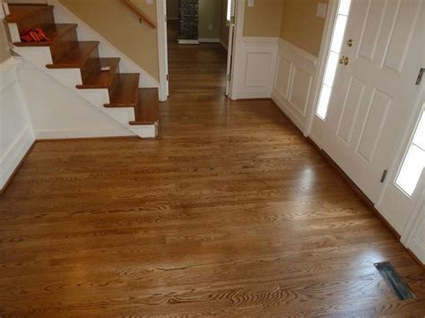 Red oak foyer Stained with Special Walnut and coated with