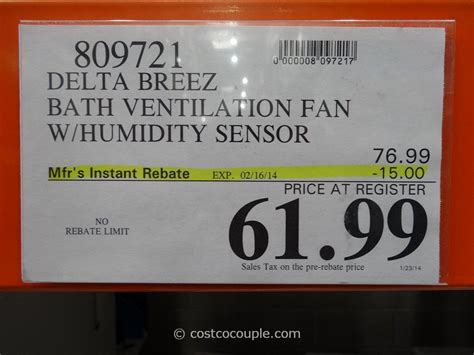costco bathroom fan delta breez humidity sensing bath ventilation fan