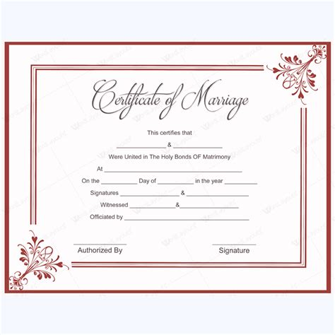 blank marriage certificate template 5 plus adorable blank marriage certificate designs for word