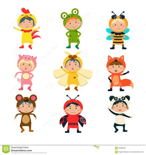 wearing animal costumes stock vector image