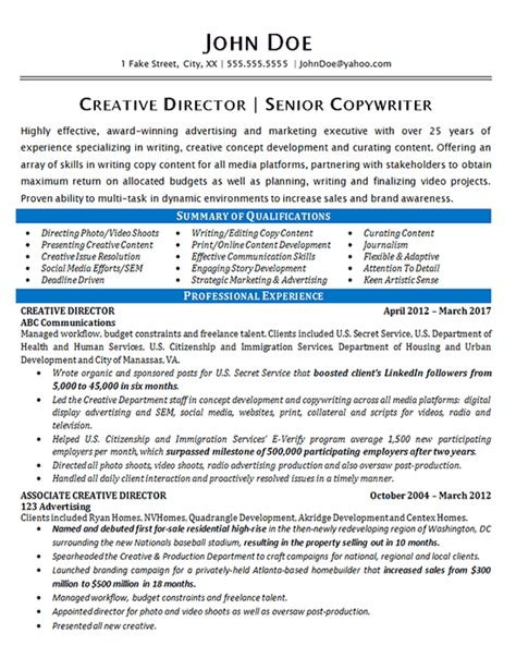 Copywriter Resume by Creative Director Resume Exle Copywriter Marketing