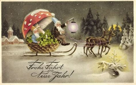 free vintage happy new year greeting cards elves with the mushrooms of yule rockland camden