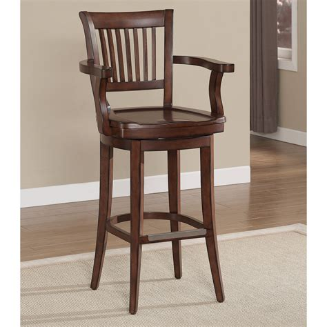 wooden bar stools with backs that swivel wooden swivel bar stool with mission back and arms of
