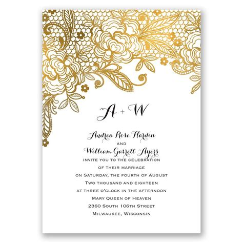 Wedding Invitation Gold by Gold Lace Invitation With Free Response Postcard S