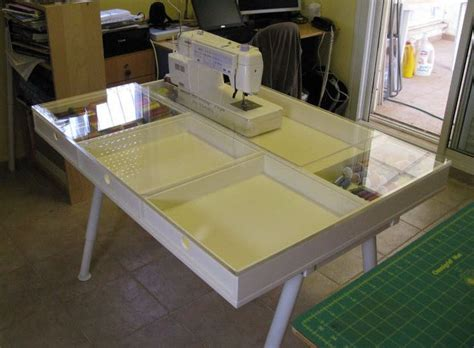 custom built sewing table with plexiglas top sewing