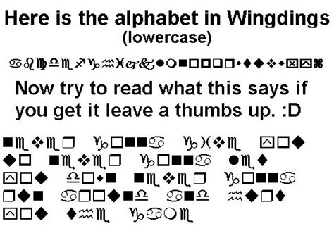 Character Map Letter A wingdings chart wingdings 3 riddle helper april 2011