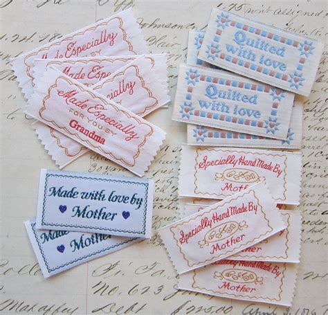 Handmade By Me Labels - labels for handmade items 16 pieces embroidered labels
