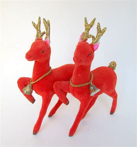 vintage red flocked reindeer ornament figurine set of 2