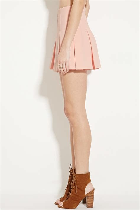 forever 21 box pleated mini skirt in pink lyst