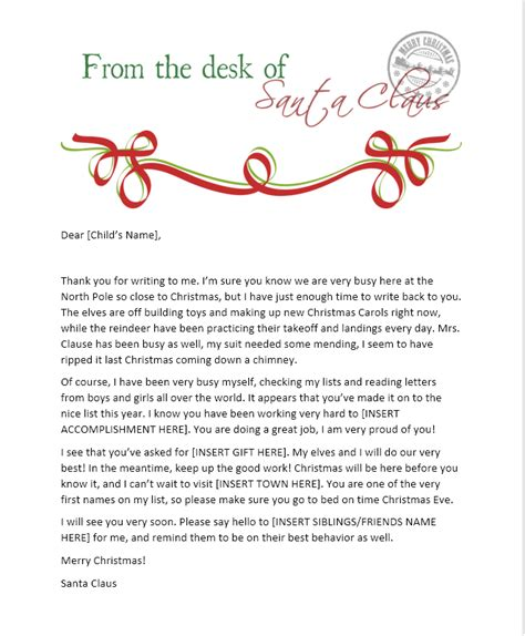 printable santa letters for adults send your child a santa letter from the north pole free