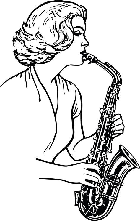 Free Clipart Of A Black and White Woman Playing a ... Elvis Clipart Graphics Free