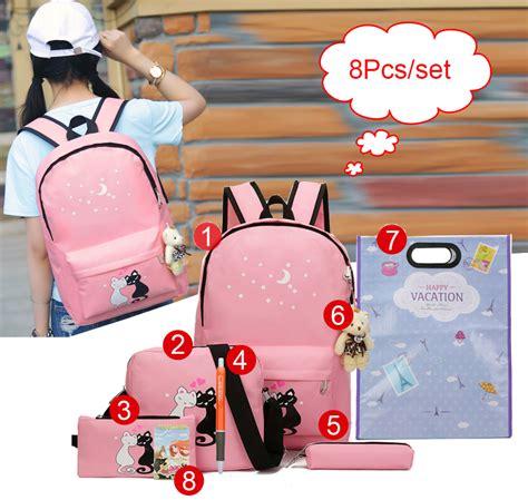 Paket Ransel Anak paket tas ransel anak 8 in 1 sekolah printing kucing